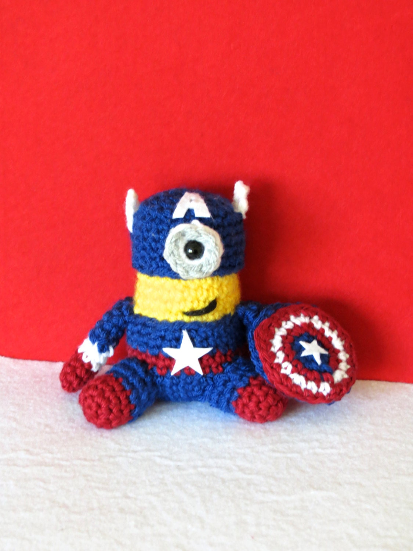 Minion Captain America Amigurumi : Captain America Minion Crochet Amigurumi by MyStringofPurls
