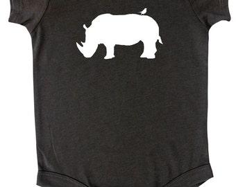 Safari Animal Silhouette Baby Bodysuit-Rhino