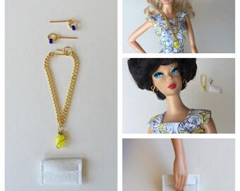 Barbie Handmade Necklace Earrings Clutch Fashion Doll Jewelry