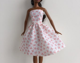 Handmade Barbie Clothes Strapless Red on White