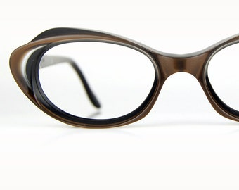 Princess Cat Eye Glasses /  France AParis Frame / Dark Brown Layered Optical Frame Ladies  46/18""