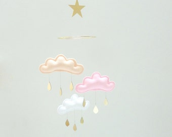 "Peach,Pink,White cloud and gold Star mobile for nursery ""ELSA"" with gold star by The Butter Flying-Rain Cloud Mobile Nursery Children Decor"