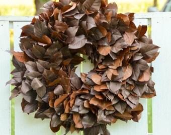 Chestnut Brown Salal Wreath, chestnur brown wreath, brown wreath, autumn  wreath, fall wreath