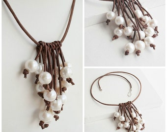 Pearl Leather Necklace - Rustic Wedding Necklace - Casual Necklace - White Pearl Necklace - Bib Necklace - Beach Jewelry - Gift For Her