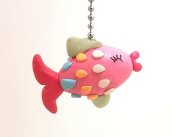 Fish Fan Pull Chain - Under the Sea Nursery - Children's Nautical Room Decor - Pink, Green, Turquoise, Orange - Polymer Clay