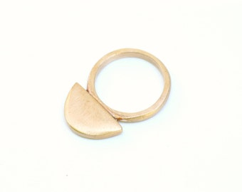Lunar Cast Ring - Bronze/Brass Half Circle, Arc