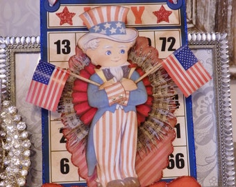 Military Uncle Sam, Patriotic Bingo Card with Flags and  A Salute Our Troops Banner By STACY MARIE