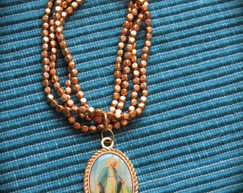 VIRGIN MARY Vintage Medal adorning Gold Toned Multi Strand Bracelets- Protection you need everyday