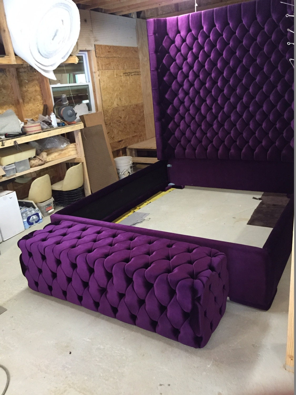 Velvet Tufted Bed Full