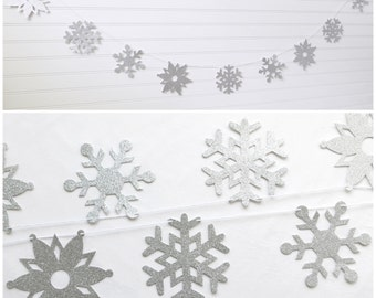 Glitter Snowflake Garland - 5 in and 4.25 in - Snowflake Banner Christmas Snowflake Decorations Winter Garland Silver Glitter Snowflakes