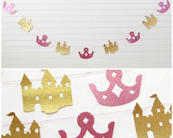 Glitter Princess Garland - Crown and Castle - Princess Party Garland Princess Birthday Banner Glitter Party Garland Crown Banner Castle Sign
