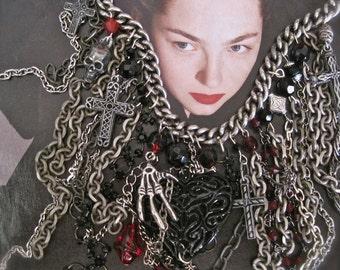 Transylvanian Temptress: Bleeding Black Heart Necklace Vintage Assemblage Statement Chains Skull Crosses Blood Drops Skeleton Hand OOAK