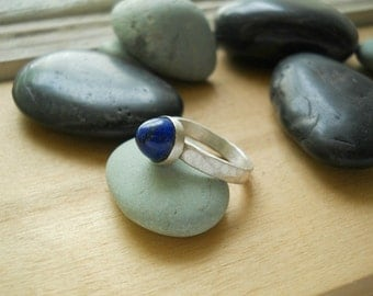 blue lapis lazuli ring, sterling silver , size 5.5  ring, simple ring, lapis with golden pyrite, domed gemstone, ready to ship