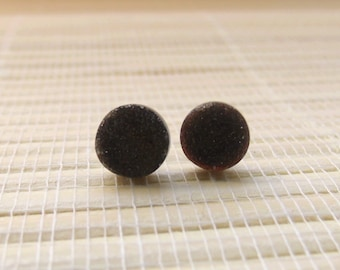 Black Druzy Cabochon Studs Sterling Silver 8mm