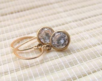 Cubic Zirconia Gold Fill Dangle Earrings April Birthstone 6mm