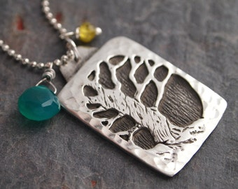 Gemstone and Tree Necklace