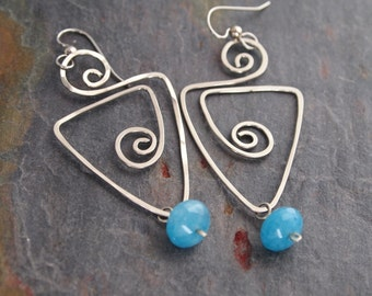 Angelite and Hand Forged Earrings