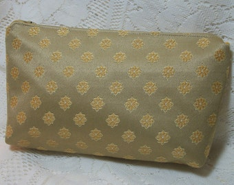 Gold Clutch Bag Pouch Pocketbook Small Lined Fabric Silk Nylon