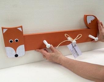 Orange Fox Clothing Rack, Peg Rack , Fox Coat Rack,  Fox Wall Hook, Fox Coat Rack, Fox Nursery, Woodland Nursery, Fox Kids Decor