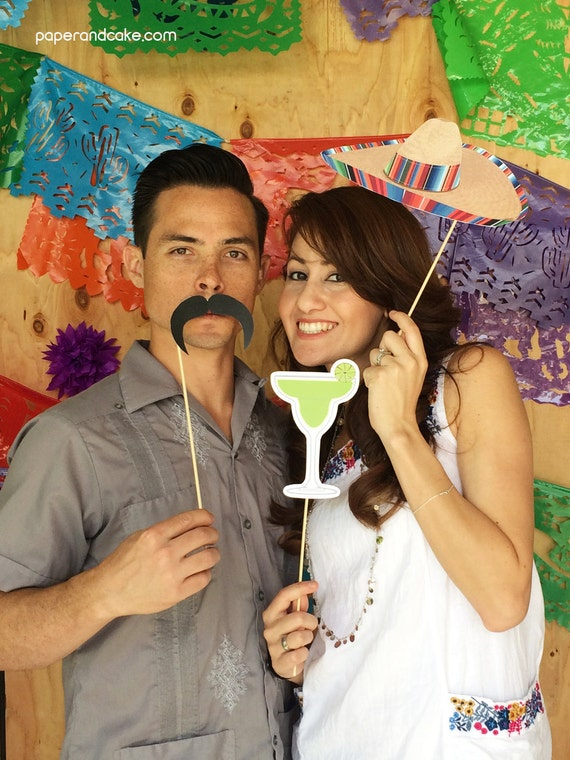 Cinco de Mayo Fiesta Printable PHOTO BOOTH PROPS Sombrero, Tequila, Margaritas - Editable Text >> Instant Download << Paper and Cake