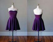 Chloe Strapless Sweetheart Knit Dress / Party / Bridesmaid / Wedding / Handmade in USA / Custom Colors / Purple Dress / Circle Skirt