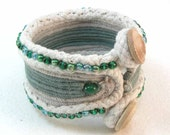 beaded cuff bracelet cotton cord bracelet blue green button toggle cuff bracelet 2741