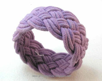 plum rope bracelet turks head knot sailor bracelet cotton nautical rope work armband knotted cuff 3083
