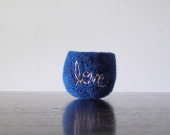 """felted wool bowl - dark blue felt wool bowl with pale pink embroidered """"love"""" - air plant planter - soft jewelry storage - scratch free"""