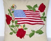 "20"" x 20"" Americana Square Throw Pillow Cover Embroidered Flag Roses Patriotic 4th of July USA America Vintage Style Linen Stars Stripes"