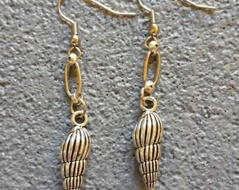 Silver Charm Wentlewrap Seashell Earrings