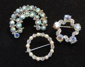 Vintage Rhinestone Brooch- Lot of 3 Brooches- Aurora Borealis Iridescent, Crescent Moon, Wreath Circle, Silver Metal, Pearl- Bridal Jewelry