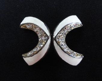 Vintage Belt Buckle- Art Deco Rhinestones, White Enamel, Gold Metal- Vintage Buckle Hook Latch, Boomerang X Shape, Wedding Jewelry