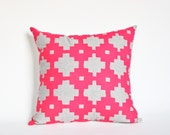 Neon Pink Home Decor Accent Pillow Graphic Pattern Pillow for Girls Room Pillow for Teenager Modern Nursery Decor