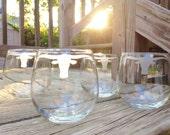 Bull Horns Etched Glassware Set - Set of 2 or 4 - Etched Glasses, Wine Glasses, Pint Glasses, Rocks Glasses, Mason Jars-Choose You Glassware