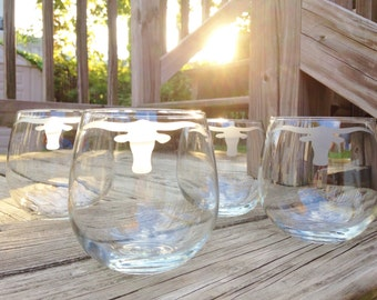 Bull Horns Glassware Set - Set of 2 or 4 - Choose Your Style of Glassware -Glass Cans, Wine Glasses, Pint Glasses, Rocks Glasses, Mason Jars