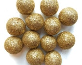 12 Glitter Wool Felt Balls, Sparkle decoration for home or ammo for Slingshot toy, gold copper silver craft decor fun gift special events