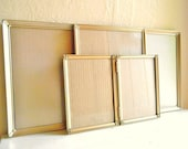 Mid-Century Gold Metal Picture Frames 8x10 and 5x7 Bi-fold Unique Set