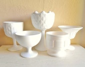 Collection of Milk Glass Compotes Pedestal Bowls White Vases 5 Five