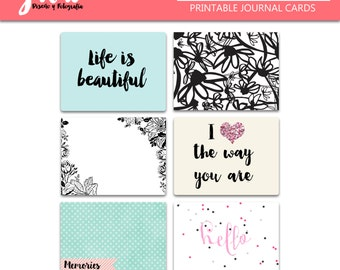 Springly Journal Cards pack, 3x4 printable journal cards, pattern prints