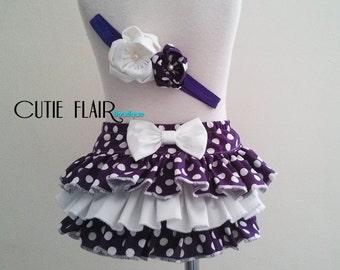 Baby Ruffle Bloomer and Matching Headband, Girl Diaper Cover, Polka Dot Bloomers, Newborn Photo Prop, Girl Cake Smash, 6-12M Ready To Ship