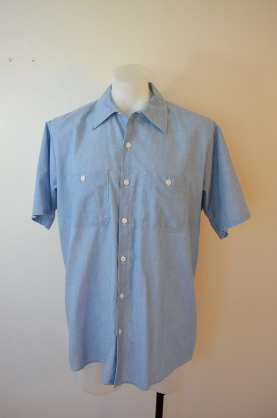 On sale vintage big ben chambray work shirt large made in usa for Usa made work shirts