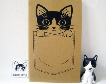 Pocket Kitty Moleskine Large Kraft Cahier/Journal/Notebook - Lined Paper