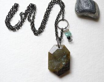 "Vywamus Asymmetrical Labradorite Pendant Necklace - Apatite, Matte Black Chain -Life Purpose, Handmade,  22"", Free US Shipping, Metaphysical"