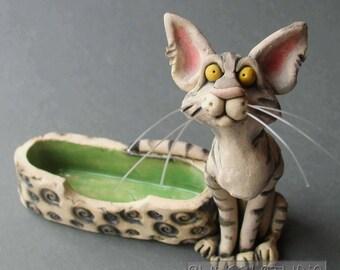 CeramicTabby Cat Holder