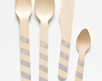 Gray Stripes - 20 Wooden Utensils - Choose Forks, Spoons, Knives or Ice Cream Spoons