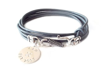 Round Leather Bracelet - Personalized Sterling Silver Tag - Grey - The Basics: 2mm Triple Wrap Six Strand Monogram, Crossed Arrows, Year