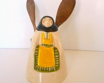 Vintage Figural Vase, Wooden Spoon Holder - Old Woman