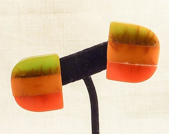 Vintage Orange, Yellow, and Lime Green Tiled Bakelite Clip On Earrings