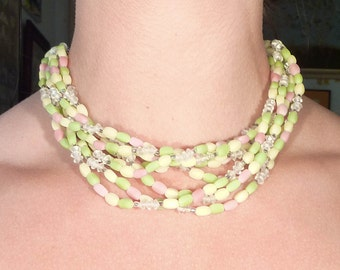 Japanese Vintage Frosted Green, Yellow, and Pink Frosted Glass Beaded Necklace