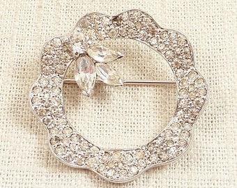 SALE ---- Vintage Jomaz Silvertone Rhinestone Pave Scalloped Wreath Brooch